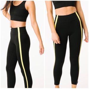ZYIA Luxe Black/yellow neon strip Leggings, Size12